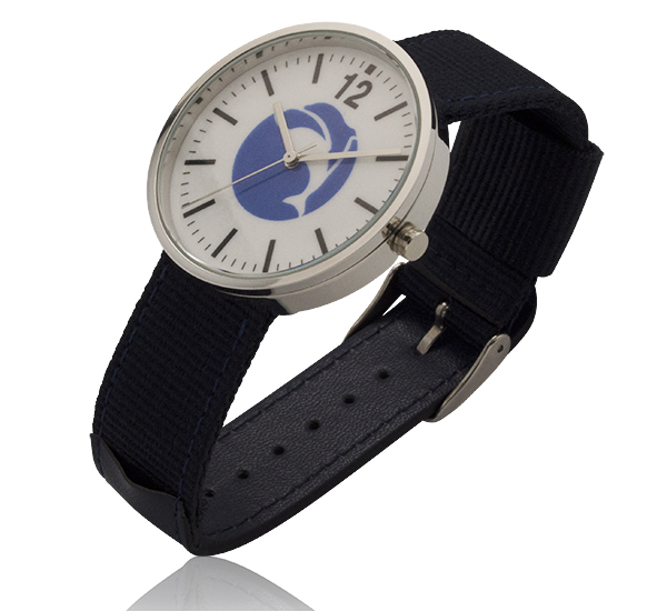1.55 Inch Round Screen Watch with Navy Blue Nylon & Leather Straps