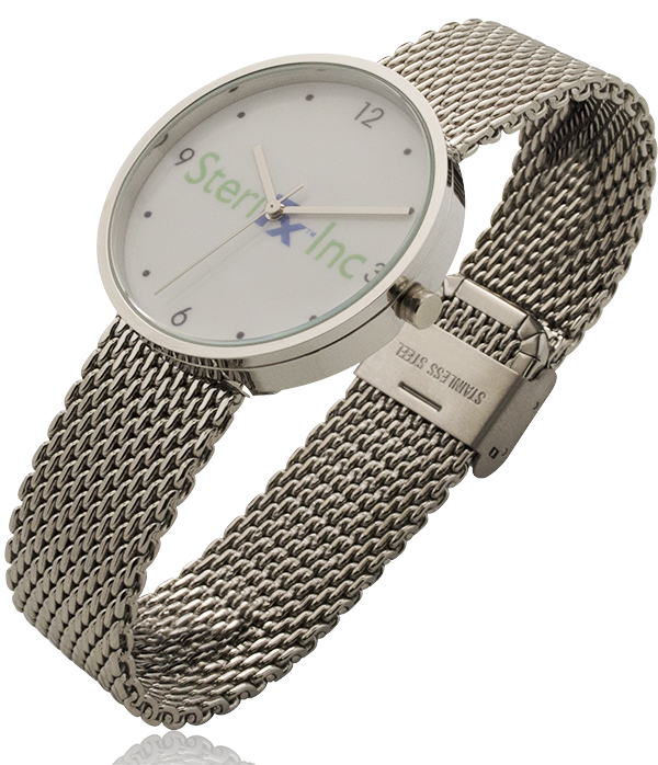 1.55 Inch Round Screen Watch with Stainless Steel Mesh Bracelet