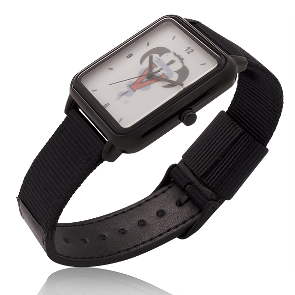 New Big Dial Rectangle Watch with Black Nylon & Leather Straps