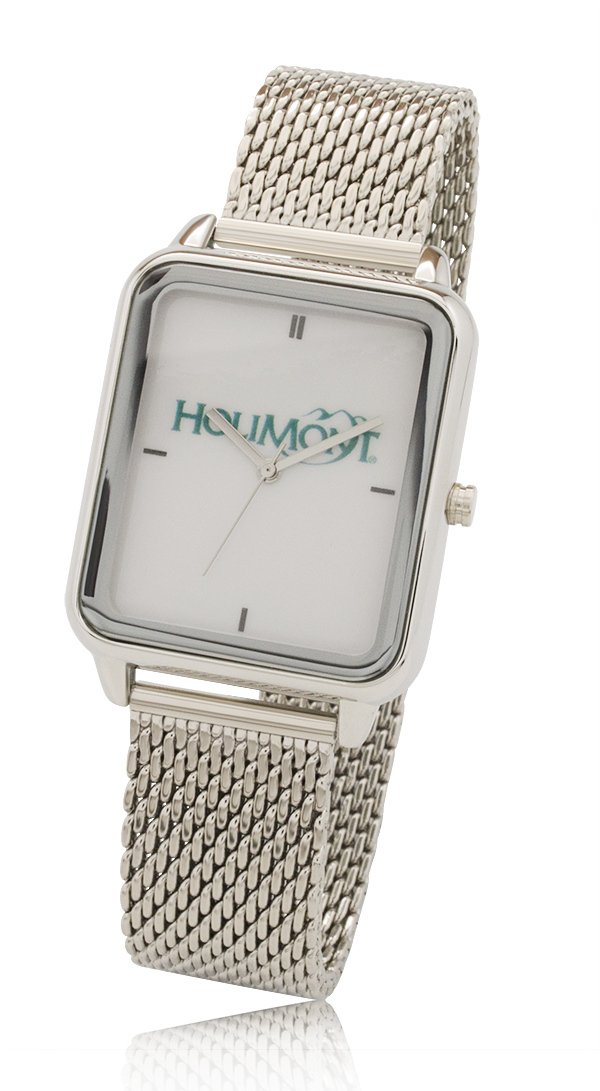 New Big Dial Rectangle Watch with Stainless Steel Mesh Bracelet
